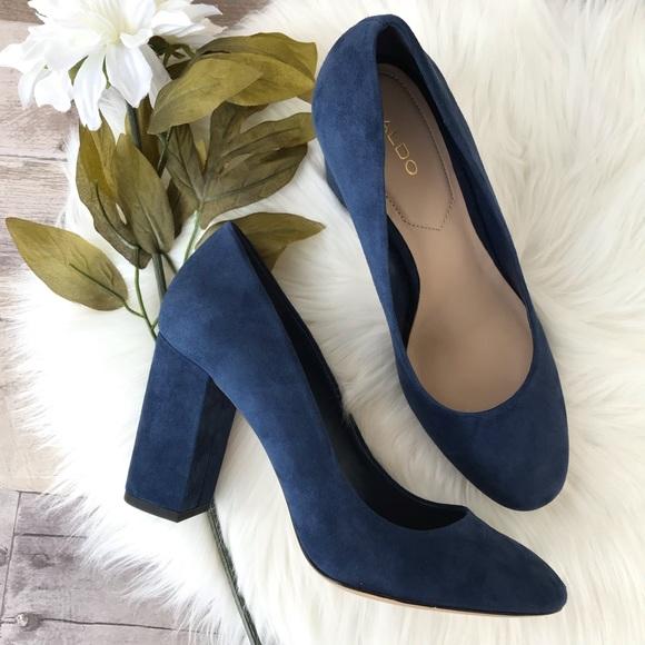 Aldo Miryma Navy Blue Block Heels Sz